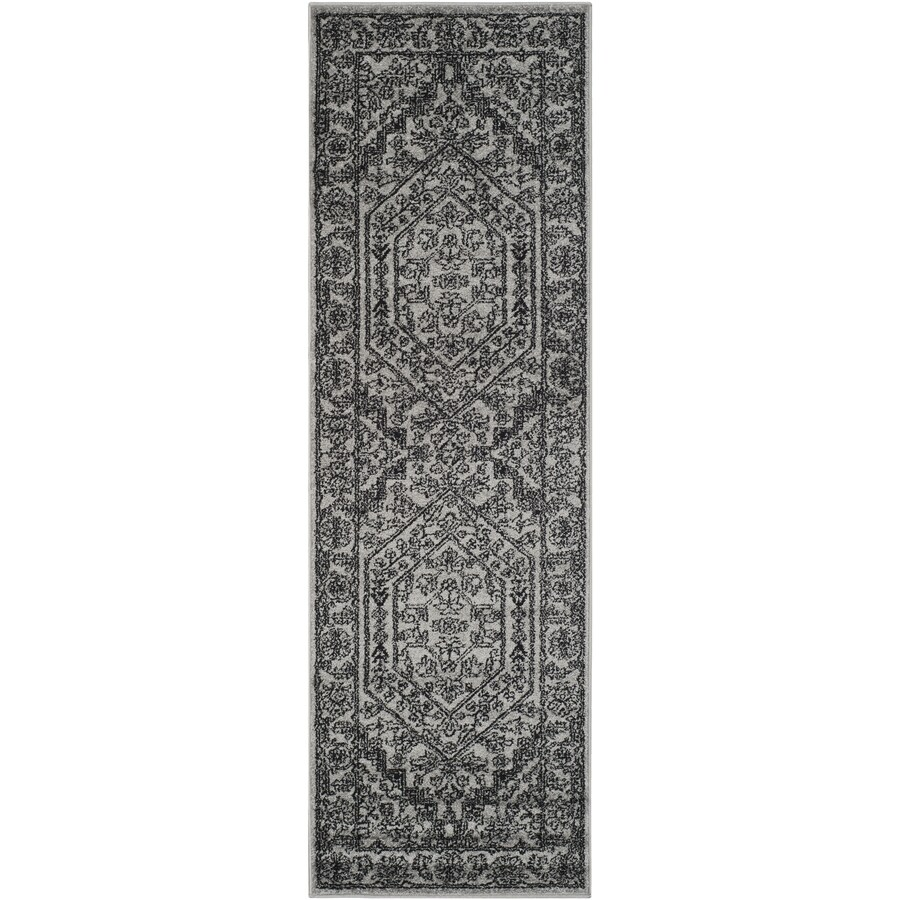 Safavieh Adirondack Herati Silver/Black Rectangular Indoor Machine-made Lodge Runner (Common: 2 x 22; Actual: 2.5-ft W x 22-ft L)