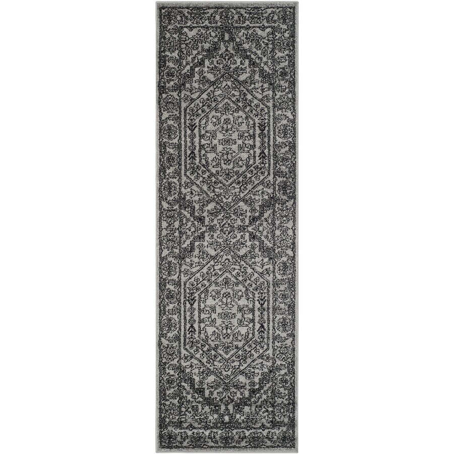 Safavieh Adirondack Herati Silver/Black Indoor Lodge Runner (Common: 2 x 16; Actual: 2.5-ft W x 16-ft L)
