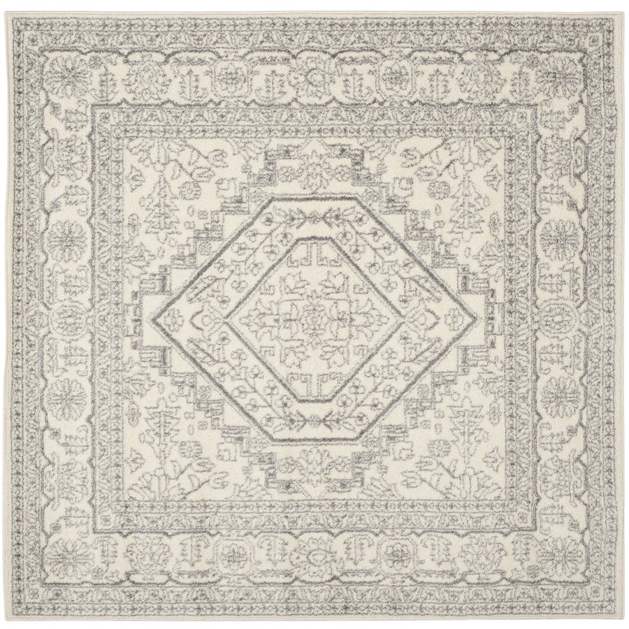 Safavieh Adirondack Herati Ivory/Silver Square Indoor Machine-made Lodge Area Rug (Common: 10 x 10; Actual: 10-ft W x 10-ft L)