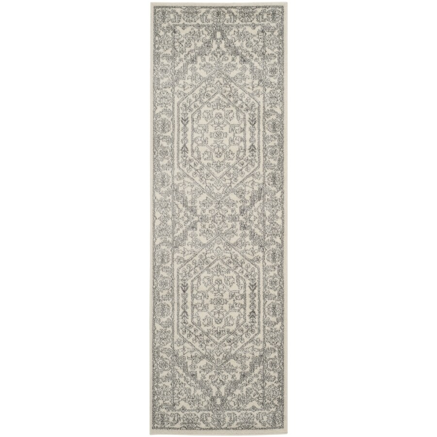 Safavieh Adirondack Herati Ivory/Silver Rectangular Indoor Machine-Made Lodge Runner (Common: 2 x 18; Actual: 2.5-ft W x 18-ft L)