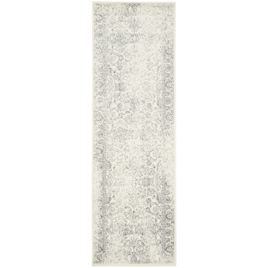 Safavieh Adirondack Ivory/Silver Rectangular Indoor Machine-Made Lodge Runner (Common: 2 x 22; Actual: 2.5-ft W x 22-ft L)
