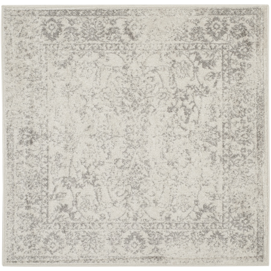 Safavieh Adirondack Kashan Ivory/Silver Square Indoor Lodge Area Rug (Common: 4 x 4; Actual: 4-ft W x 4-ft L)