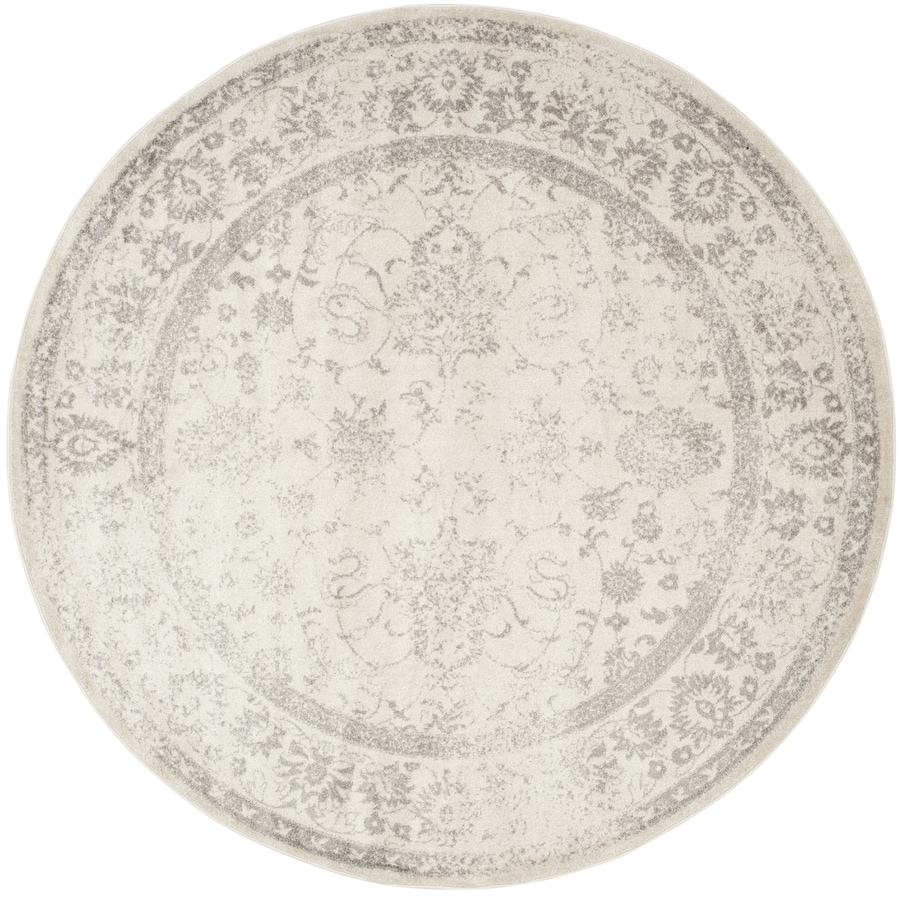 Safavieh Adirondack Ivory/Silver Round Indoor Machine-Made Lodge Area Rug (Common: 8 x 8; Actual: 8-ft W x 8-ft L x 8-ft dia)