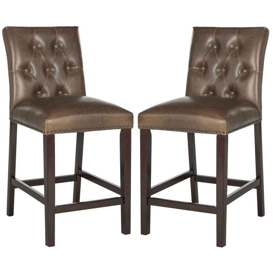 Safavieh Set of 2 Fox Brown 27.5-in Bar Stools (27-in to 35-in)
