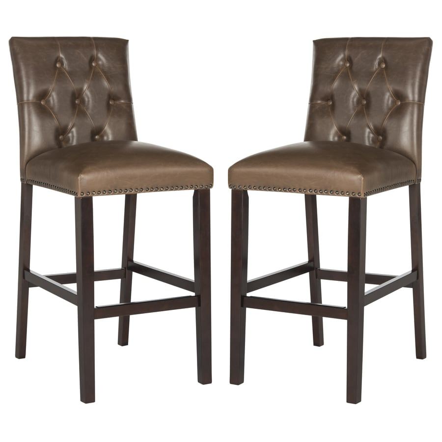 Safavieh Set of 2 Fox Brown 31.5-in Bar Stools (27-in to 35-in)