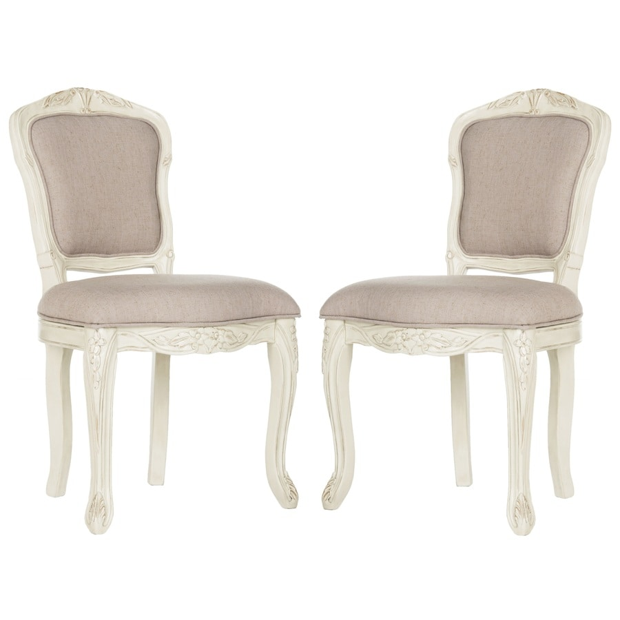 Safavieh Set of 2 Burgess Rustic Taupe Linen Accent Chairs