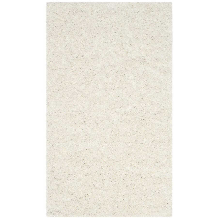 Safavieh Athens Shag White Rectangular Indoor Machine-made Moroccan Throw Rug (Common: 3 x 5; Actual: 3-ft W x 5-ft L)