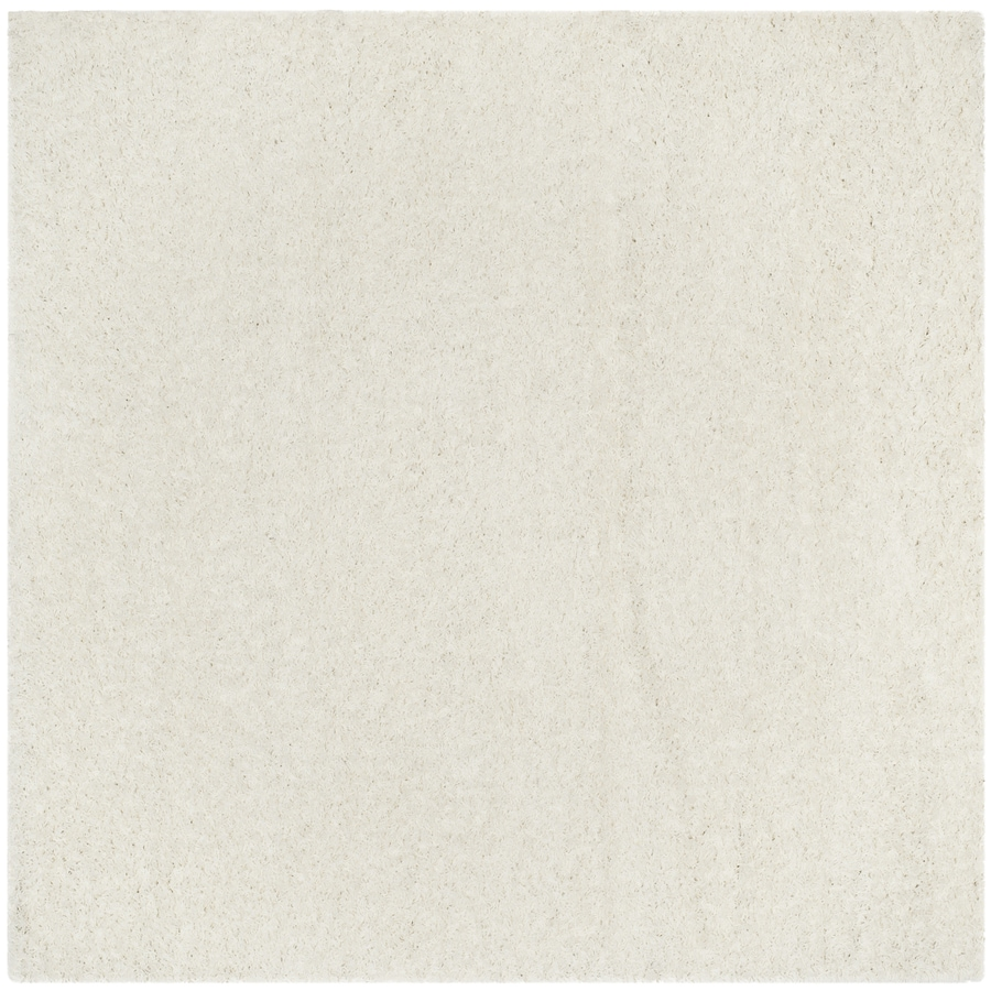 Safavieh Athens Shag White Square Indoor Machine-made Moroccan Area Rug (Common: 6 x 6; Actual: 6.6-ft W x 6.6-ft L)