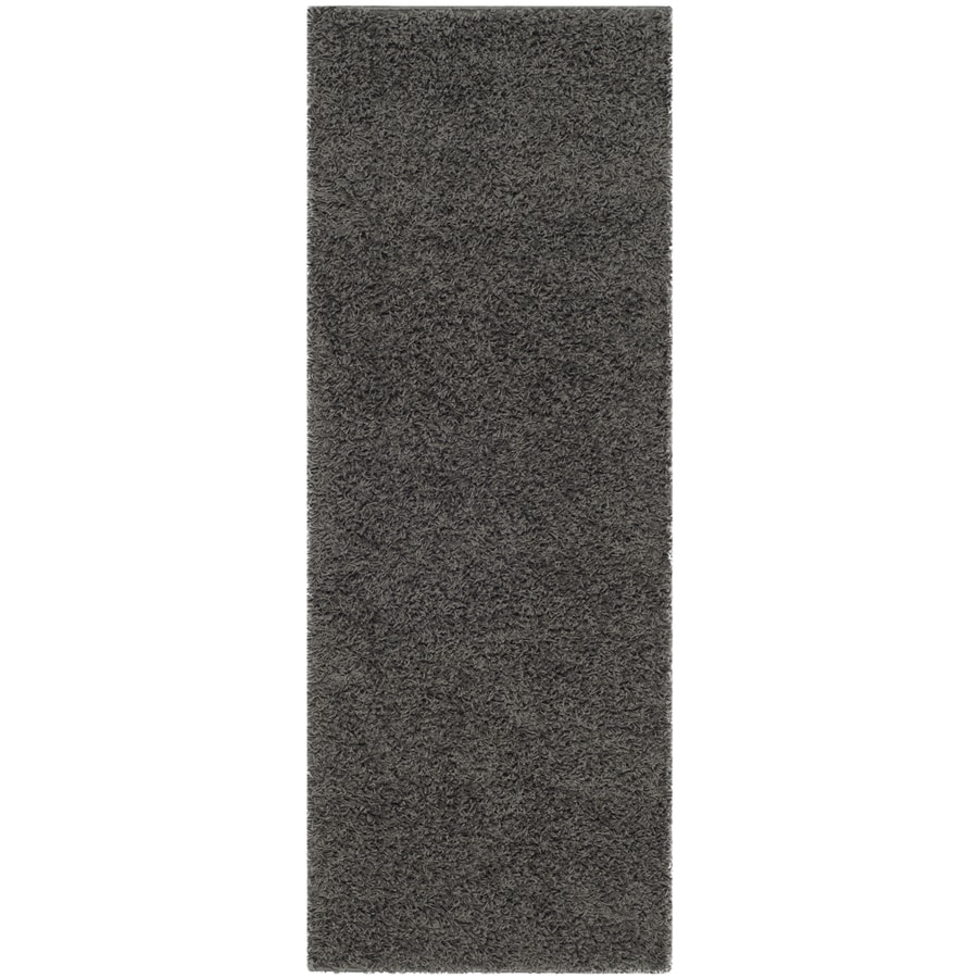 Safavieh Athens Shag Dark Gray Rectangular Indoor Machine-Made Moroccan Runner (Common: 2X8; Actual: 2.25-ft W x 8-ft L)