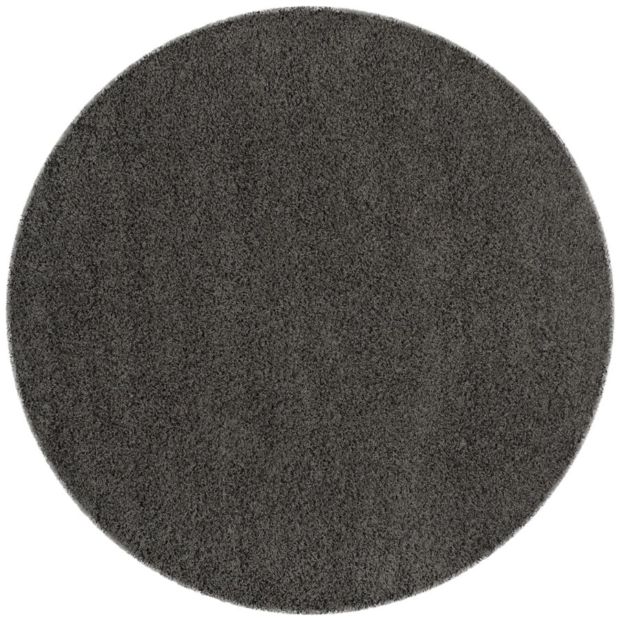 Safavieh Athens Shag Dark Gray Round Indoor Moroccan Area Rug (Common: 7 x 7; Actual: 6.7-ft W x 6.6-ft L x 6.6-ft dia)