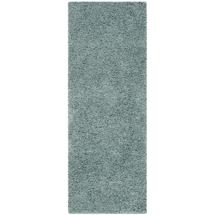 Safavieh Athens Shag Seafoam Rectangular Indoor Machine-made Moroccan Runner (Common: 2 x 10; Actual: 2.25-ft W x 10-ft L)