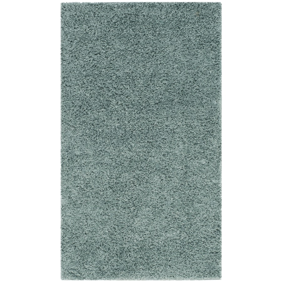 Safavieh Athens Shag Seafoam Rectangular Indoor Machine-Made Throw Rug (Common: 3 x 5; Actual: W x L x 0-ft Dia)