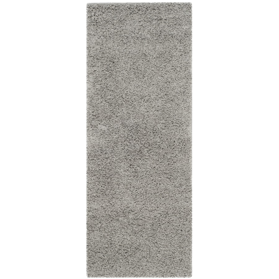 Safavieh Athens Shag Light Gray Rectangular Indoor Machine-made Moroccan Runner (Common: 2 x 6; Actual: 2.25-ft W x 6-ft L)