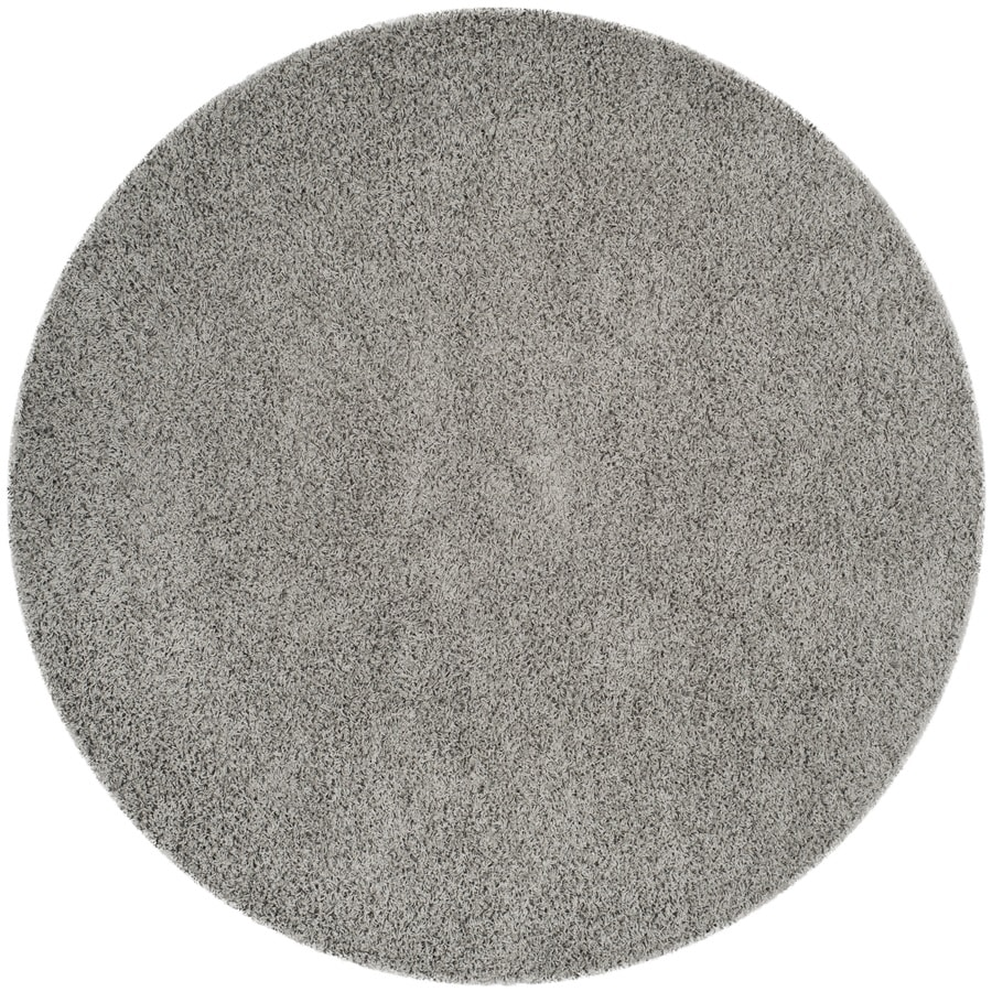 Safavieh Athens Shag Light Gray Round Indoor Moroccan Area Rug (Common: 7 x 7; Actual: 6.7-ft W x 6.6-ft L x 6.6-ft dia)