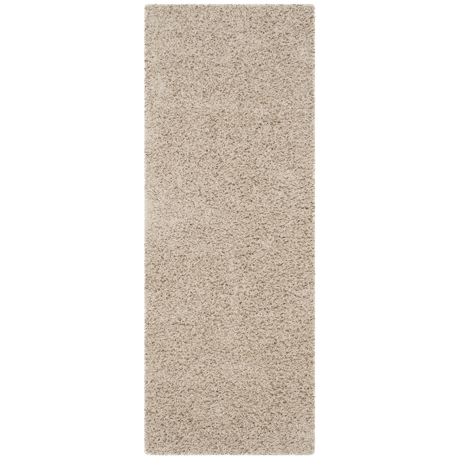 Safavieh Athens Shag Beige Rectangular Indoor Machine-made Moroccan Runner (Common: 2 x 10; Actual: 2.25-ft W x 10-ft L)
