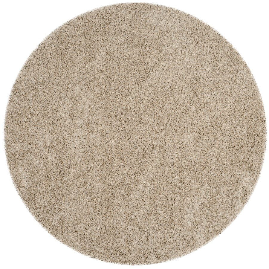 Safavieh Athens Shag Beige Round Indoor Machine-made Moroccan Area Rug (Common: 6 x 6; Actual: 6.6-ft W x 6.6-ft L x 6.6-ft Dia)