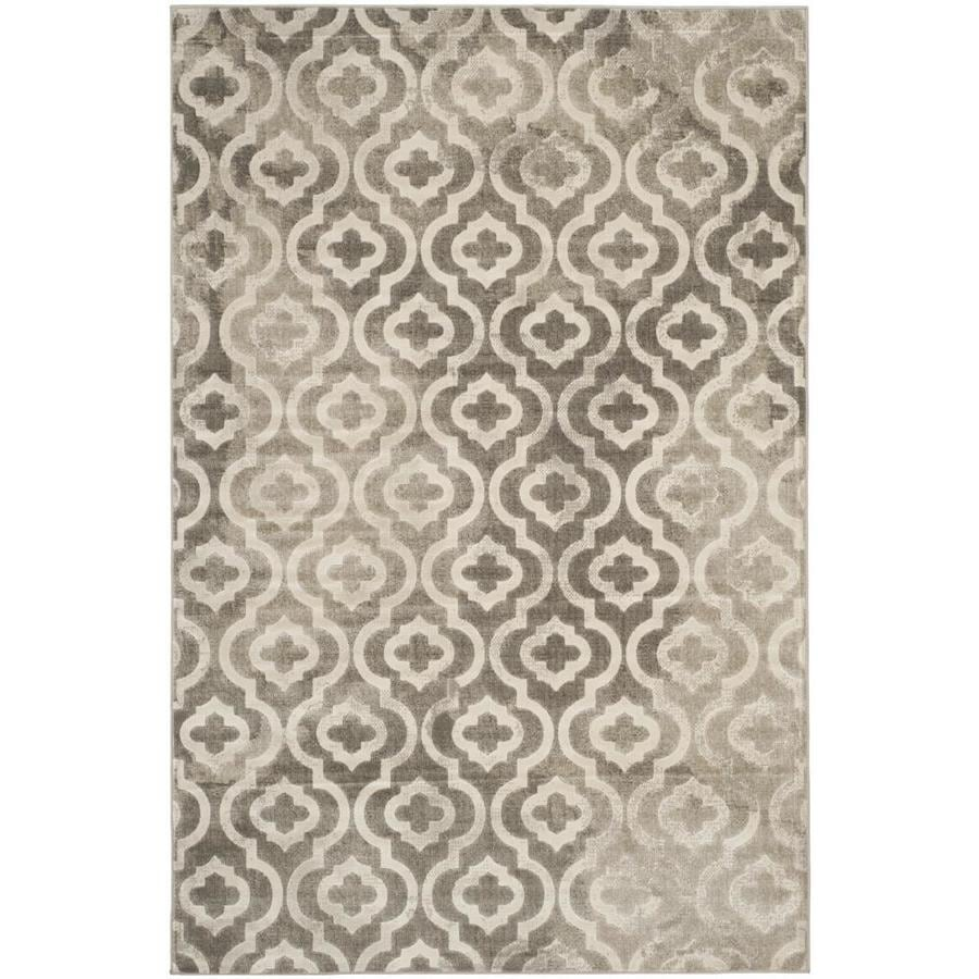 Safavieh Porcello Winfred Gray/Ivory Rectangular Indoor Machine-made Moroccan Area Rug (Common: 5 x 7; Actual: 5.167-ft W x 7.5-ft L)