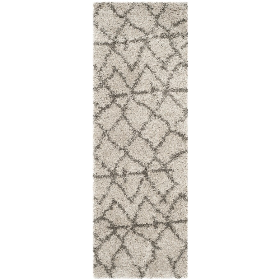 Safavieh Belize Rosby Shag Taupe/Gray Rectangular Indoor Machine-made Moroccan Runner (Common: 2 x 7; Actual: 2.25-ft W x 7-ft L)