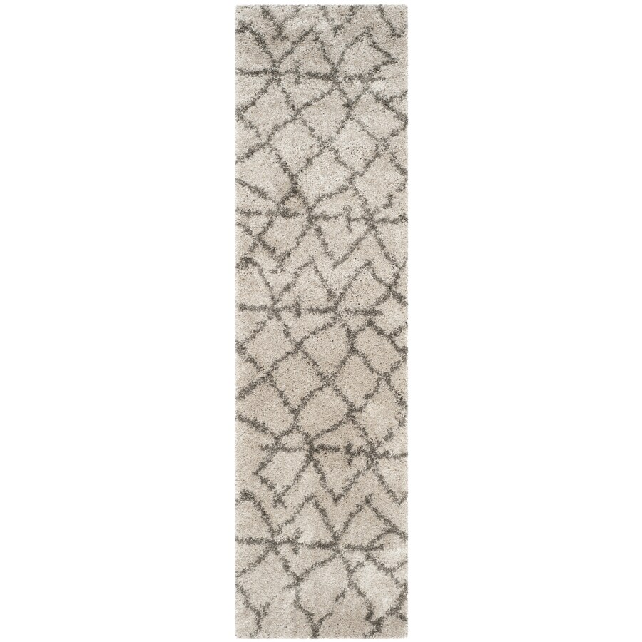 Safavieh Belize Shag Taupe/Gray Rectangular Indoor Machine-Made Moroccan Runner (Common: 2 x 9; Actual: 2.25-ft W x 9-ft L x 0-ft Dia)