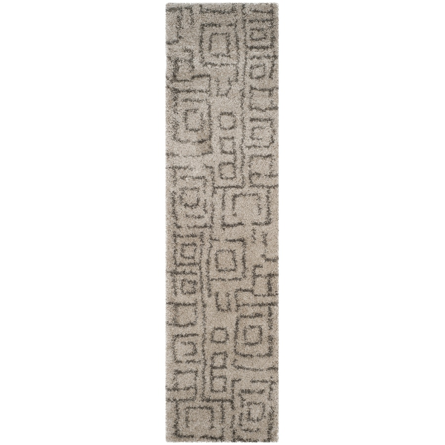 Safavieh Belize Mae Shag Taupe/Gray Rectangular Indoor Machine-made Moroccan Runner (Common: 2 x 7; Actual: 2.25-ft W x 7-ft L)