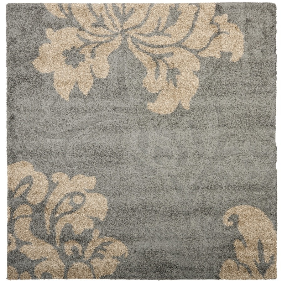 Safavieh Votive Shag Gray/Beige Square Indoor Machine-made Tropical Area Rug (Common: 4 x 4; Actual: 4-ft W x 4-ft L)