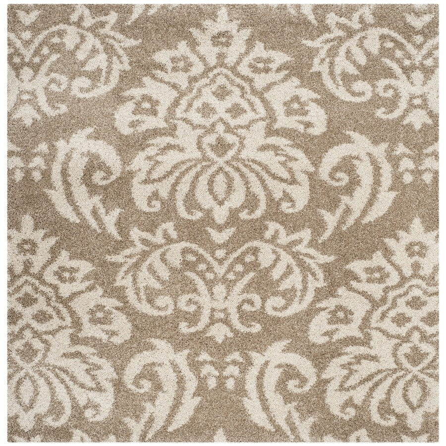 Safavieh Balin Shag Beige/Cream Square Indoor Tropical Area Rug (Common: 5 x 5; Actual: 5-ft W x 5-ft L)
