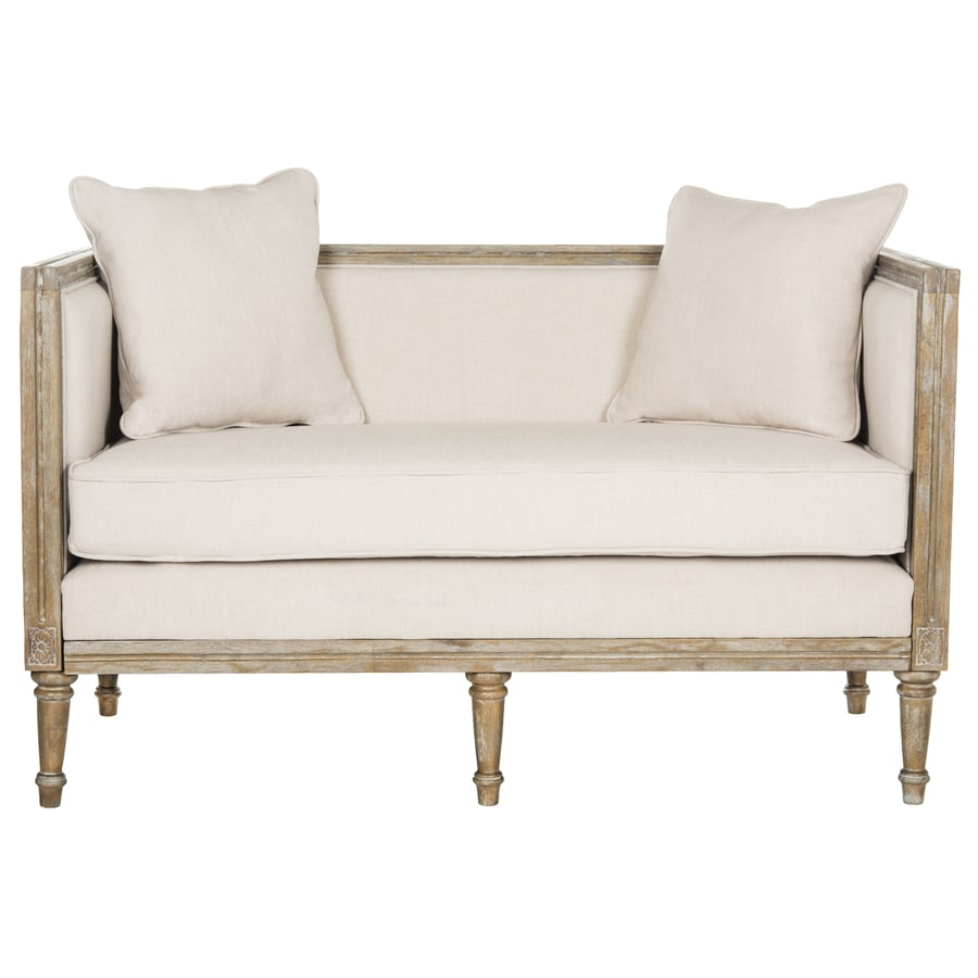 Shop Safavieh Leandra Rustic Beige Rustic Oak Linen Loveseat At