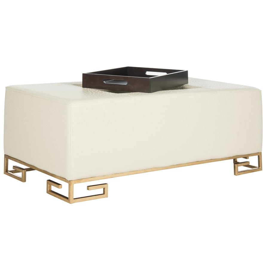 Safavieh Julian Modern Cream Faux Leather Ottoman