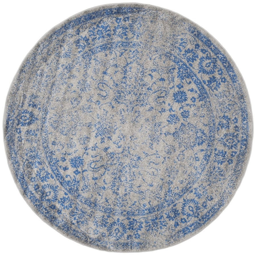 Safavieh Adirondack Kashan Gray/Blue Round Indoor Lodge Area Rug (Common: 8 x 8; Actual: 8-ft W x 8-ft L x 8-ft dia)
