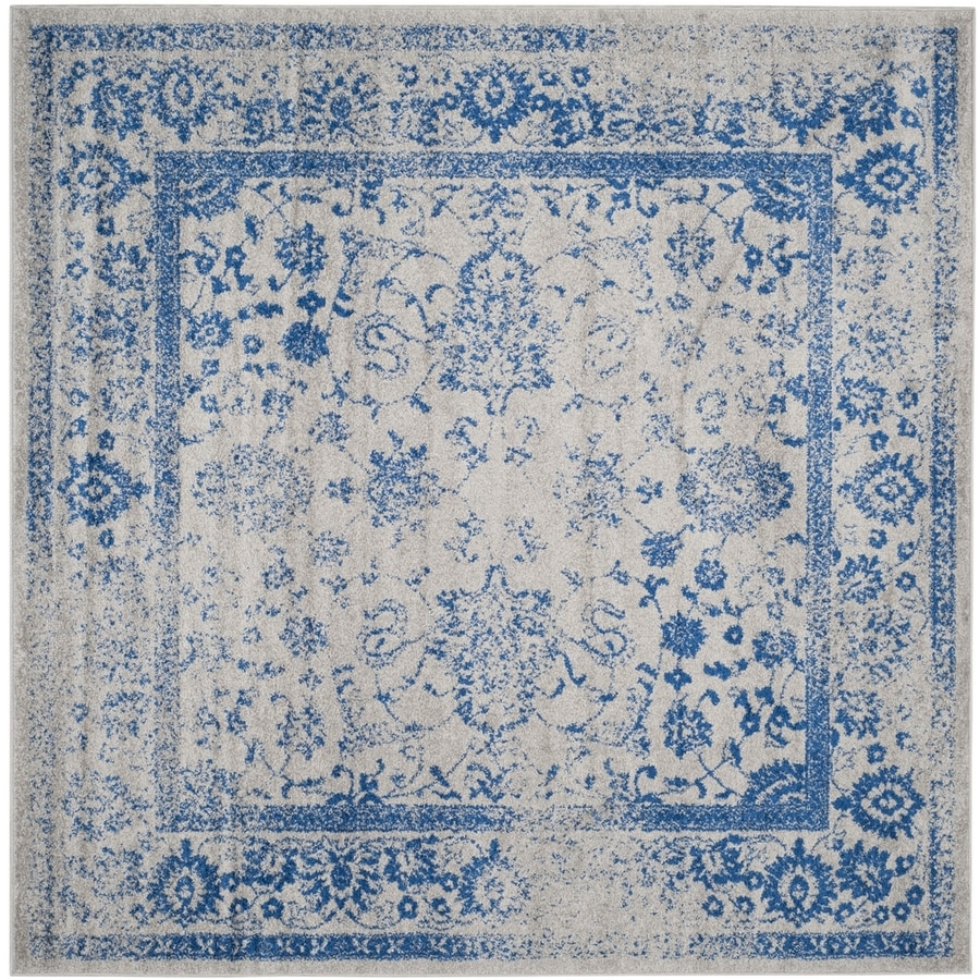 Safavieh Adirondack Kashan Gray/Blue Square Indoor Machine-made Lodge Area Rug (Common: 8 x 8; Actual: 8-ft W x 8-ft L)