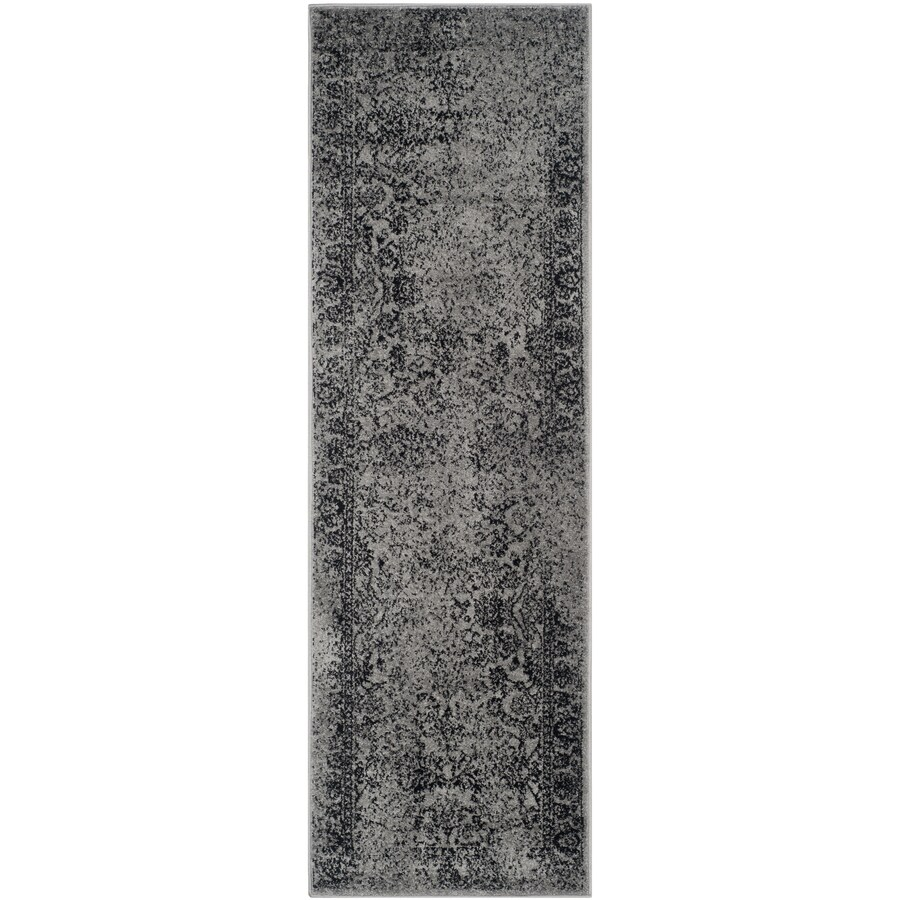Safavieh Adirondack Kashan Gray/Black Rectangular Indoor Machine-made Lodge Runner (Common: 2 x 16; Actual: 2.5-ft W x 16-ft L)