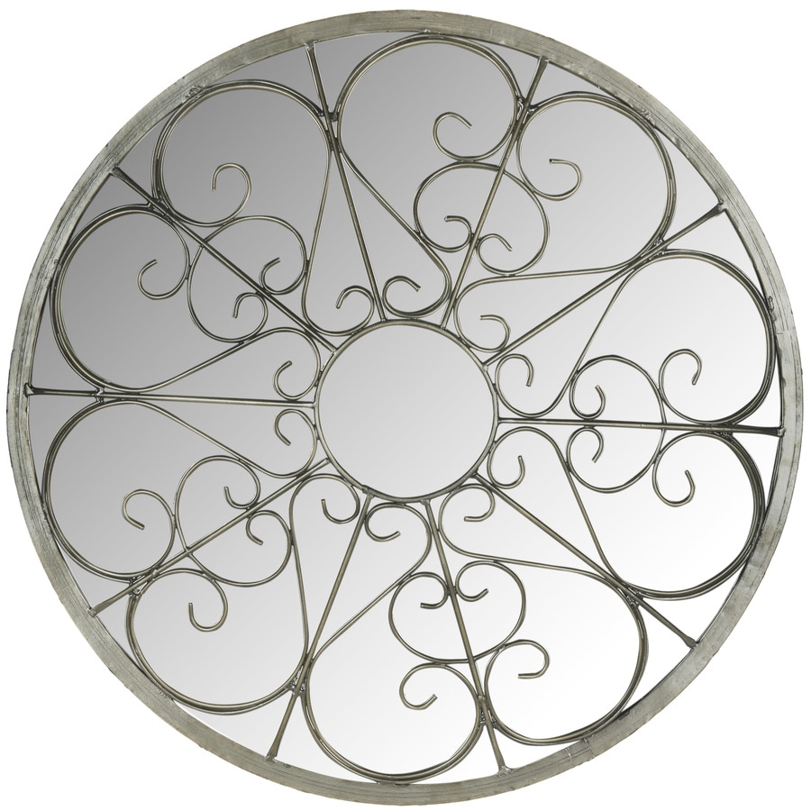 Safavieh 26-in x 26-in Silver Polished Round Framed Contemporary Wall Mirror