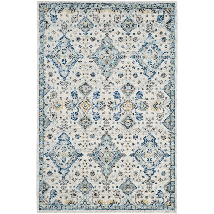 Safavieh Evoke Jaden Ivory/Light Blue Rectangular Indoor Machine-Made Oriental Area Rug (Common: 4 x 6; Actual: 4-ft W x 6-ft L)