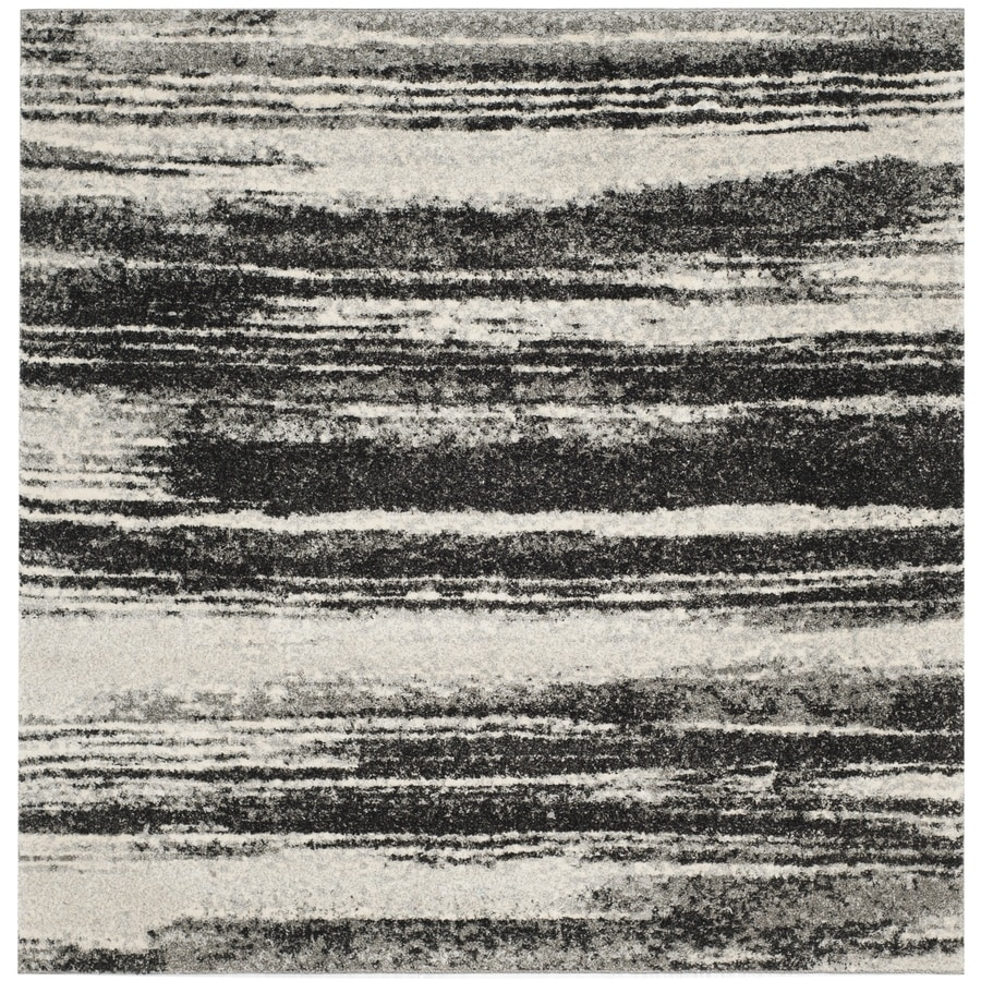 Safavieh Retro Dark Gray/Light Gray Square Indoor Machine-Made Distressed Area Rug (Common: 6 x 6; Actual: 6-ft W x 6-ft L)