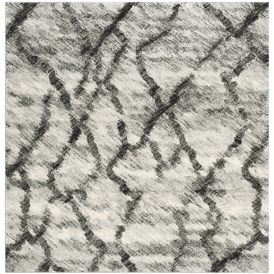 Safavieh Retro Mopani Gray/Black Square Indoor Machine-made Distressed Area Rug (Common: 6 x 6; Actual: 6-ft W x 6-ft L)
