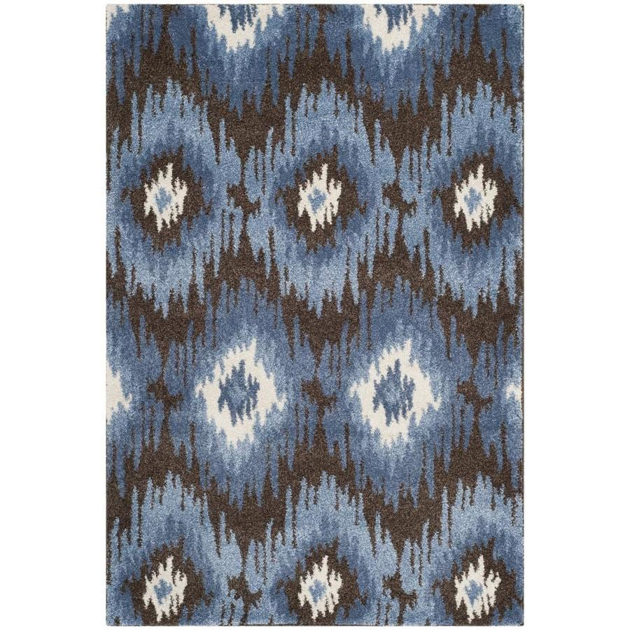 Safavieh Retro Bilson Dark Brown/Blue Indoor Lodge Throw Rug (Common: 3 x 5; Actual: 3-ft W x 5-ft L)