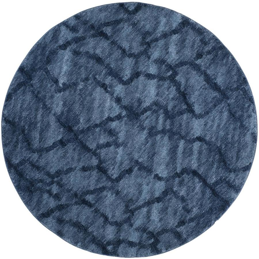 Safavieh Retro Mopani Blue/Dark Blue Round Indoor Distressed Area Rug (Common: 8 x 8; Actual: 8-ft W x 8-ft L x 8-ft dia)