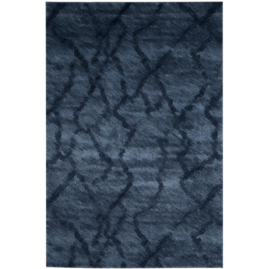Safavieh Retro Mopani Blue/Dark Blue Rectangular Indoor Machine-made Distressed Area Rug (Common: 6 x 9; Actual: 6-ft W x 9-ft L)
