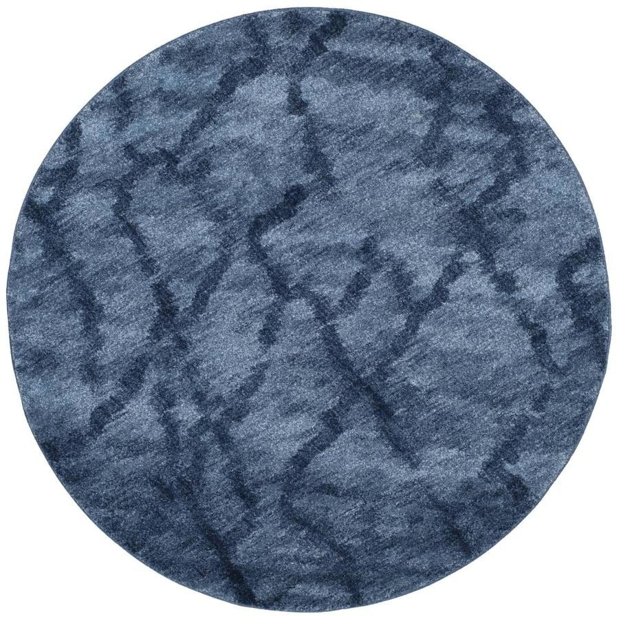 Safavieh Retro Mopani Blue/Dark Blue Round Indoor Machine-made Distressed Area Rug (Common: 6 x 6; Actual: 6-ft W x 6-ft L x 6-ft Dia)