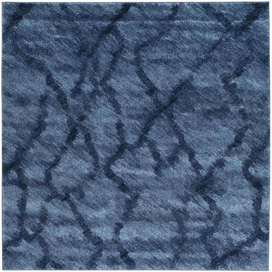 Safavieh Retro Mopani Blue/Dark Blue Square Indoor Machine-made Distressed Area Rug (Common: 6 x 6; Actual: 6-ft W x 6-ft L)