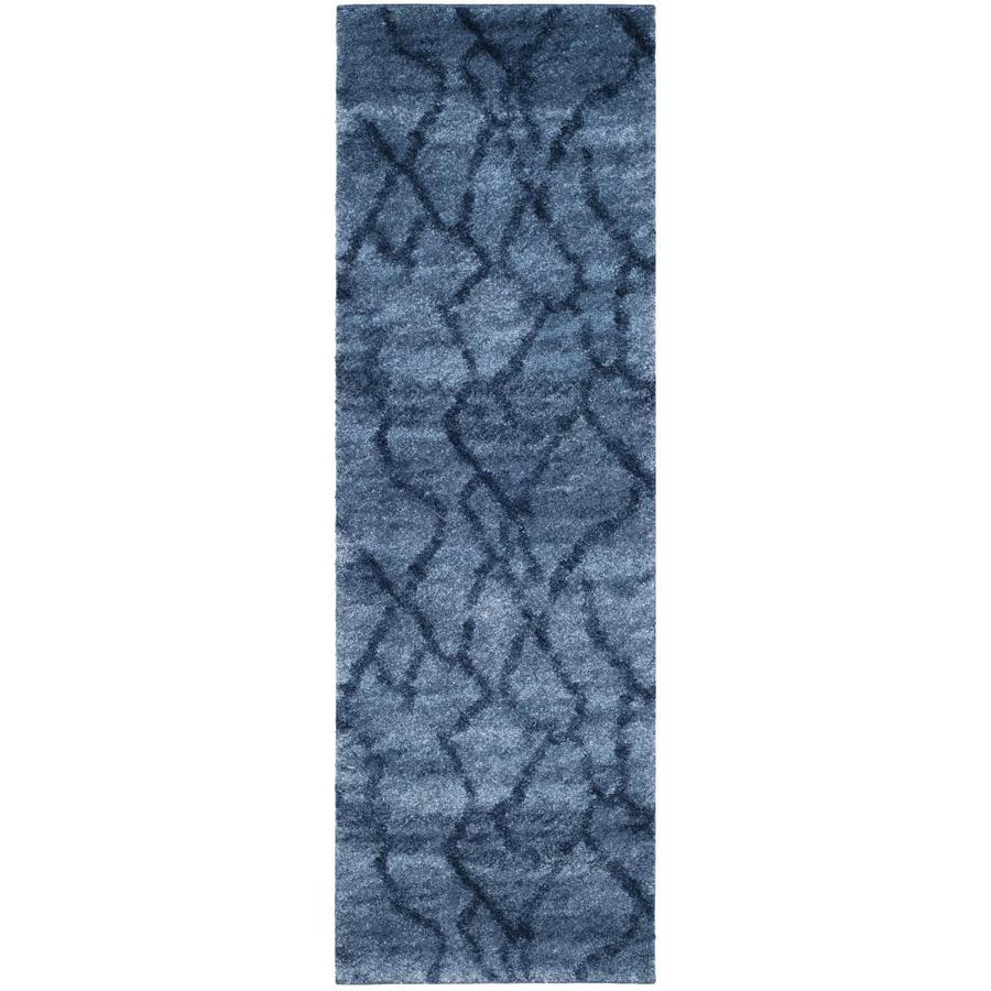 Safavieh Retro Mopani Blue/Dark Blue Rectangular Indoor Machine-made Distressed Runner (Common: 2 x 7; Actual: 2.25-ft W x 7-ft L)
