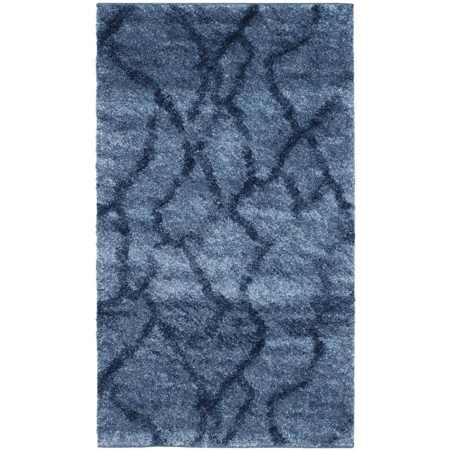 Safavieh Retro Blue/Dark Blue Rectangular Indoor Machine-Made Distressed Throw Rug (Common: 2.3 x 3.9; Actual: 2.5-ft W x 4-ft L)