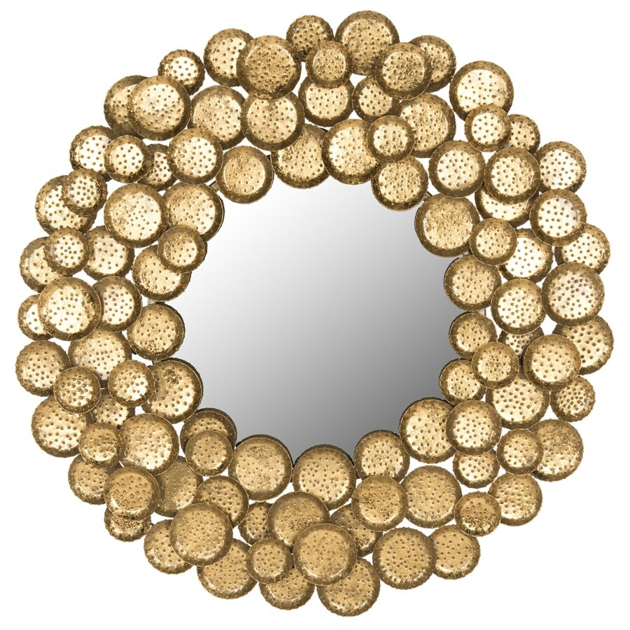 Safavieh 36-in x 36-in Antique Gold Polished Round Framed Contemporary Wall Mirror