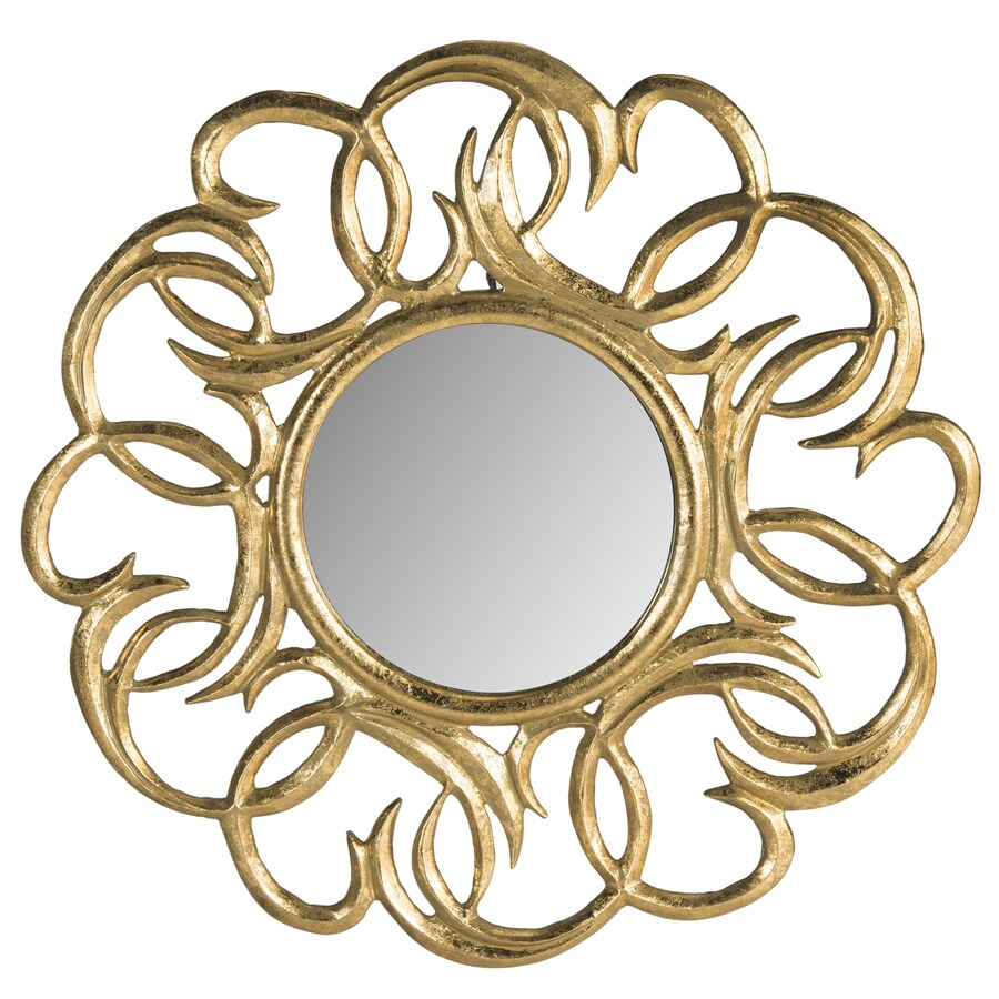 Safavieh 28-in x 28-in Gold Polished Round Framed Contemporary Wall Mirror
