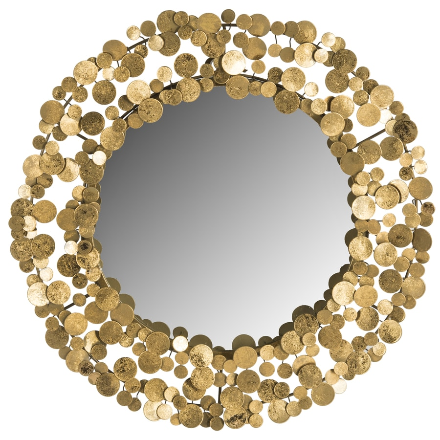 Safavieh 26-in x 27-in Gold Polished Round Framed Contemporary Wall Mirror