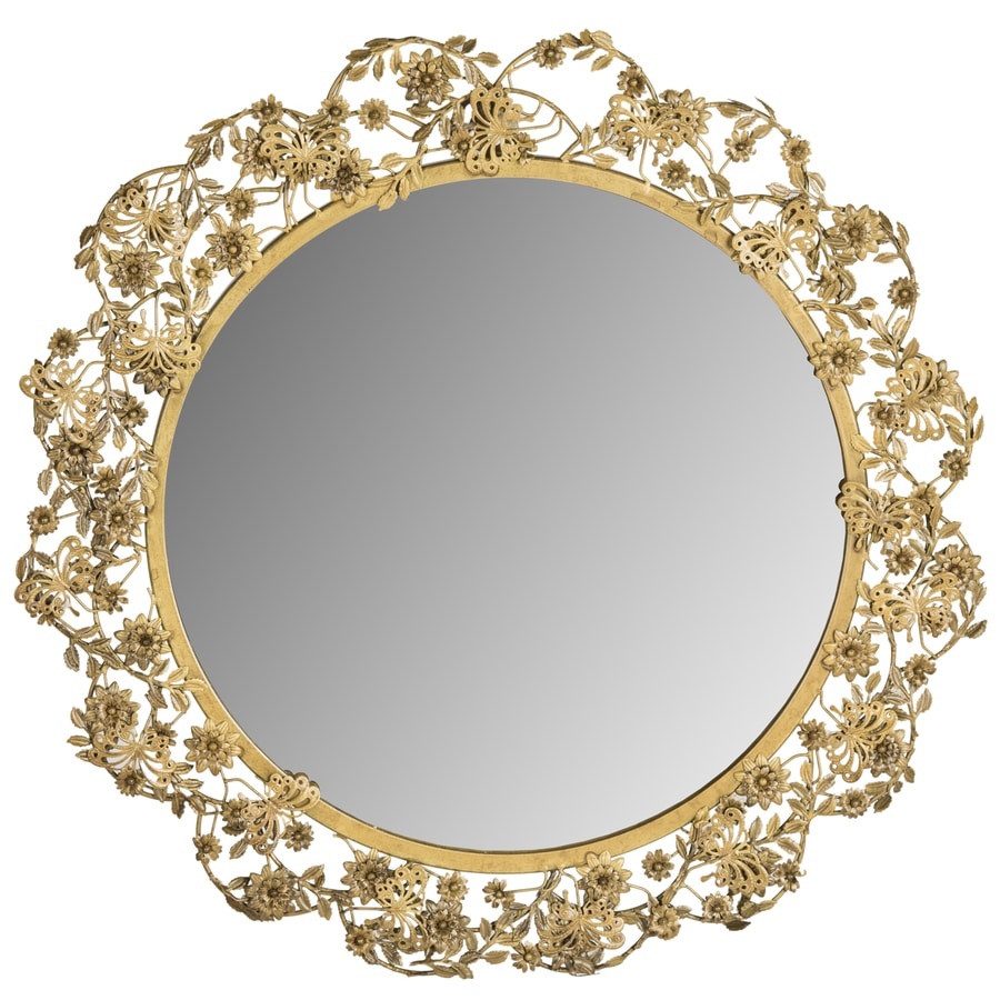 Safavieh 25-in x 25-in Antique Brass Polished Round Framed Contemporary Wall Mirror