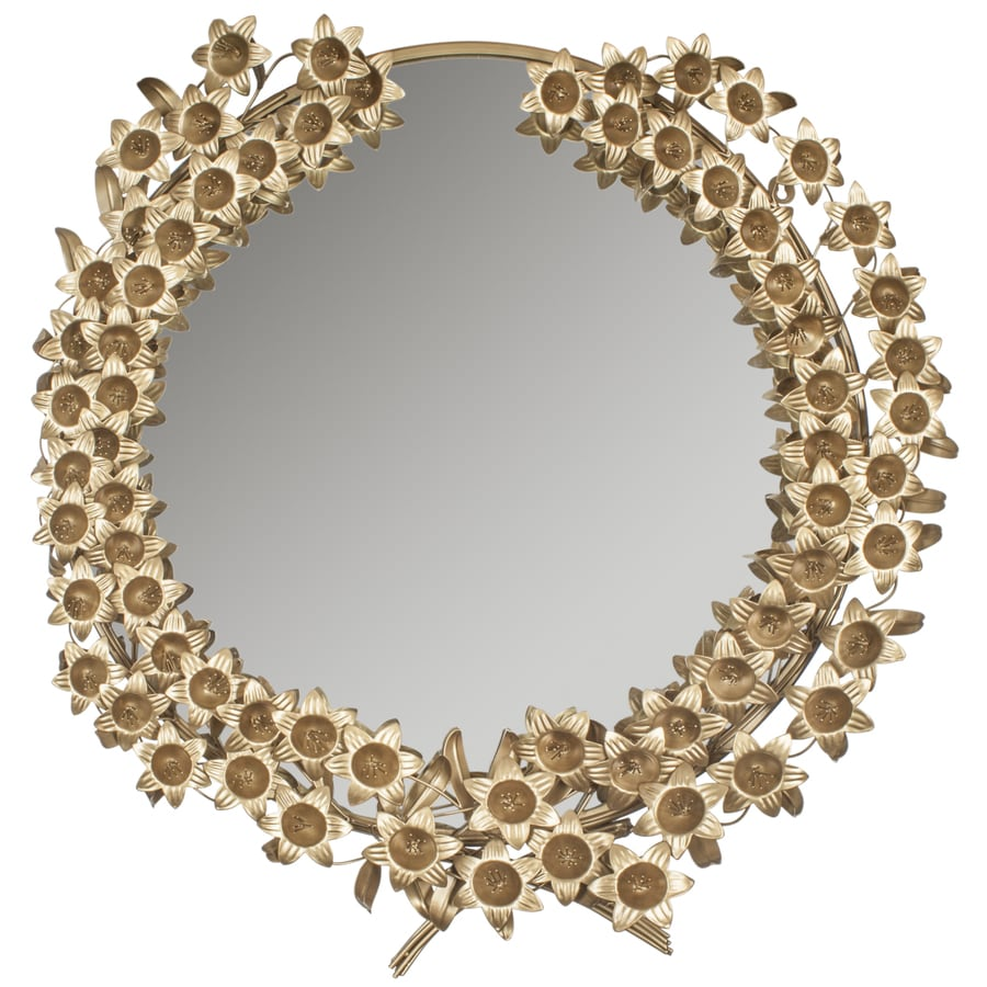 Safavieh 33-in x 35-in Antique Brass Polished Round Framed Contemporary Wall Mirror