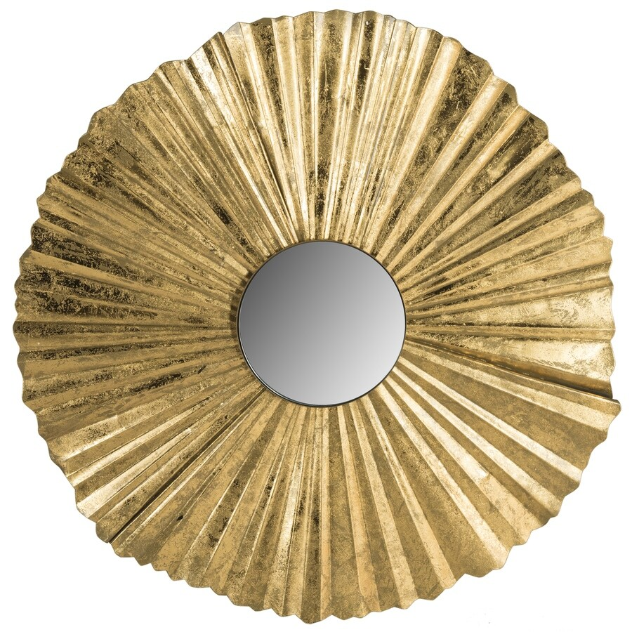 Safavieh 35-in x 35-in Gold Polished Round Framed Contemporary Wall Mirror