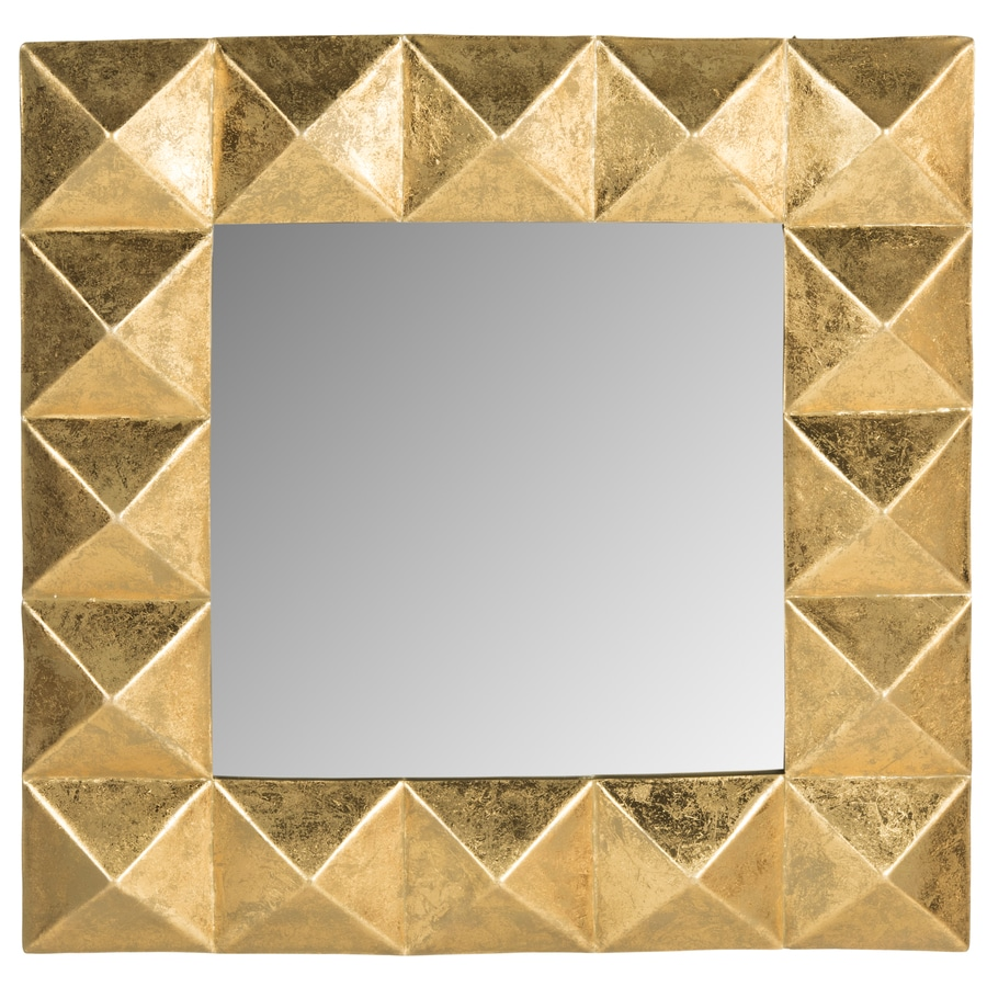 Safavieh 31-in x 31-in Gold Polished Square Framed Contemporary Wall Mirror