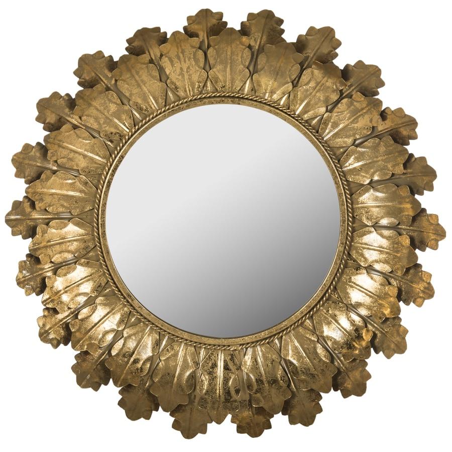 Safavieh 30-in x 30-in Gold Polished Round Framed Sunburst Wall Mirror